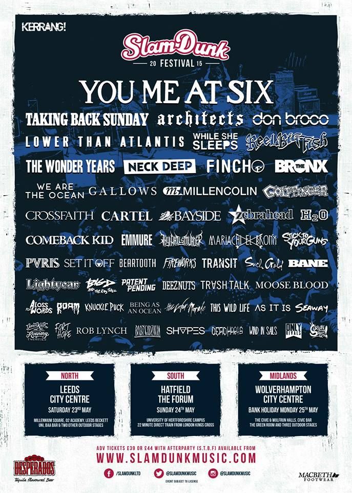 """Crossfaith、ARCHITECTS、FINCH、WE ARE THE OCEAN、SET IT OFFらがイギリスのフェス""""Slam Dunk Fest 2015""""に出演決定!"""