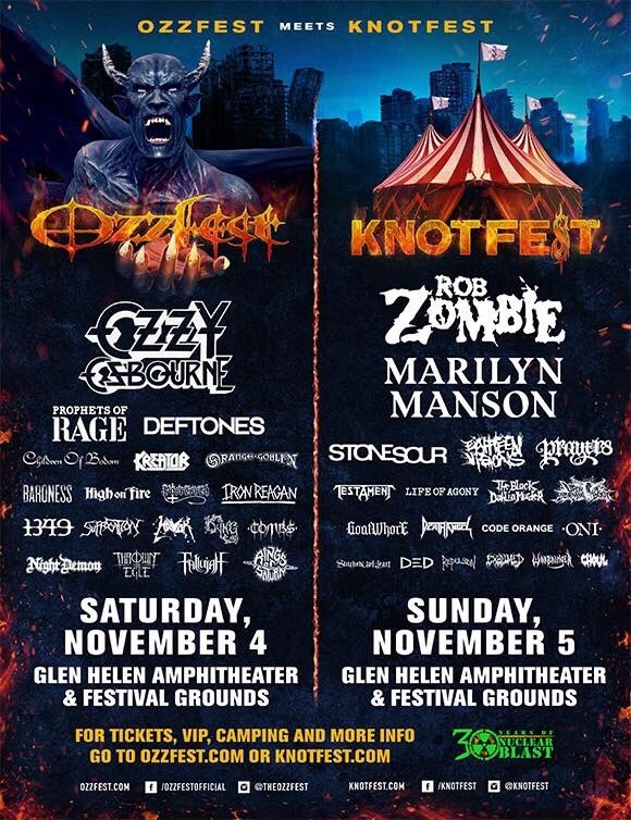 OZZFEST × KNOTFEST、今年もカリフォルニアにて共同開催決定! MARILYN MANSON、STONE SOUR、PROPHETS OF RAGE、DEFTONESら出演!