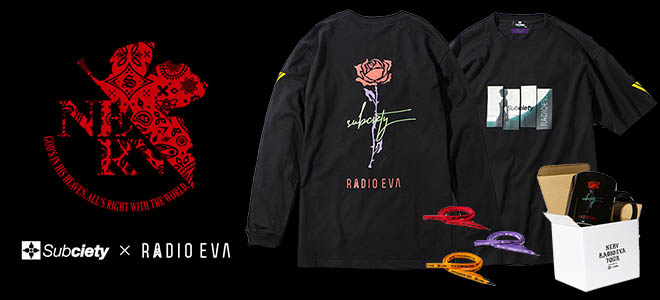 Subciety x RADIO EVA コラボレーション!左袖にオリジナル・ピックを収納できるポケットを配備したロンTやTシャツなど期間限定予約受付中!