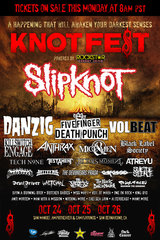 "SLIPKNOT主催フェス""KNOTFEST""、本国アメリカでも開催!FFDP、ANTHRAX、KsE、HATEBREED、TESTAMENTら出演決定!ホルモン、ワンオク、マンウィズの日米出演も実現!"