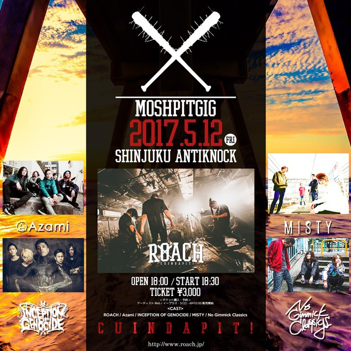 "ROACH、5/12に新宿ANTIKNOCKにて開催の自主企画ライヴ""MOSH PIT GIG""にINCEPTION OF GENOCIDE、Azami、MISTYら出演決定!"
