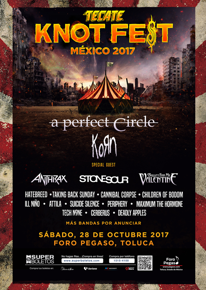 "SLIPKNOT主催フェス""KNOTFEST MEXICO 2017""、出演アーティストにホルモン、KORN、STONE SOUR、BFMV、COB、ATTILA、PERIPHERYら決定!"