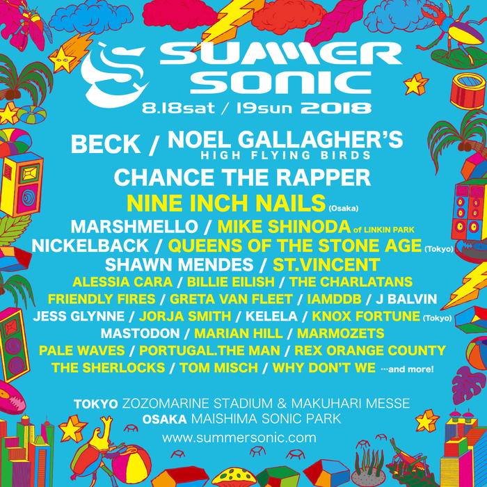 """SUMMER SONIC 2018""、第2弾出演アーティストにMike Shinoda of LINKIN PARK、QUEENS OF THE STONE AGE、MARMOZETSら20組決定!大阪公演にNINE INCH NAILS出演も!"
