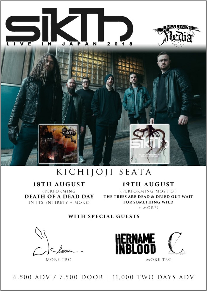 UKのプログレッシヴ/カオティック・メタル・バンド SIKTH、2nd&1stアルバム再現セットで8/18-19に来日公演開催決定!CYCLAMEN、HER NAME IN BLOOD出演も!