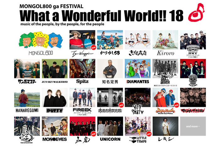 "MONGOL800主催フェス""What a Wonderful World!! 18""、第5弾出演アーティストにBRAHMAN、山嵐ら決定!"