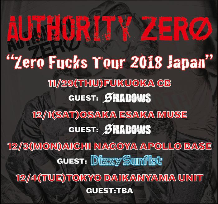 USアリゾナ州のメロディック・パンク・バンド AUTHORITY ZERO、11月より行うジャパン・ツアーのゲスト・バンドにDizzy Sunfist、SHADOWS決定!