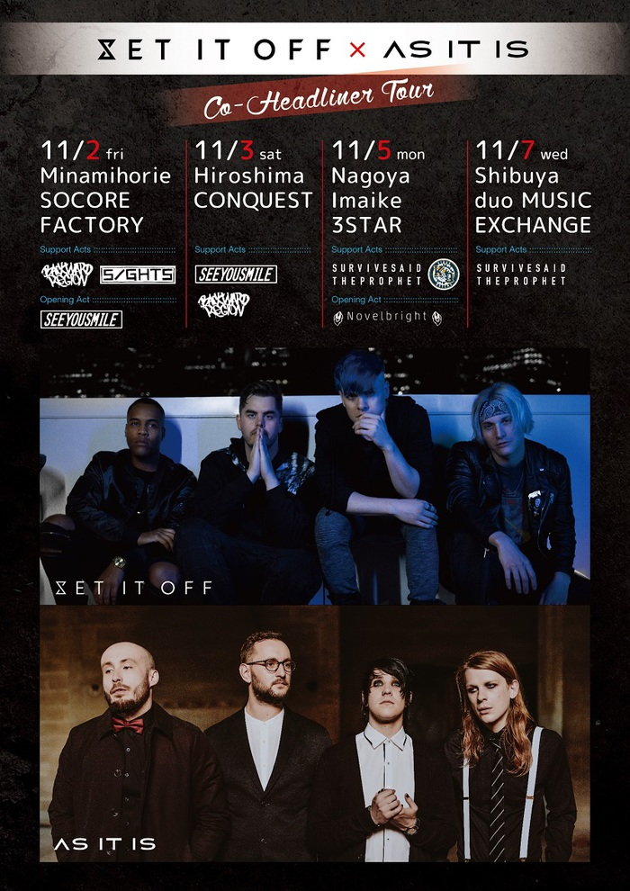 SET IT OFF × AS IT IS、11月開催ダブル・ヘッドライナー来日ツアーのサポート/オープニング・アクト発表!Survive Said The Prophet、Novelbrightら出演決定!