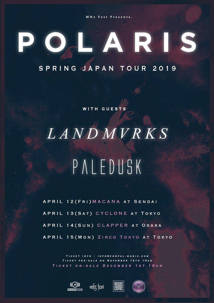 オーストラリア発メタルコア・バンド POLARIS、来年4月に初来日ツアー開催決定!Paledusk、フランス発メタルコア・バンド LANDMVRKSが全公演出演!