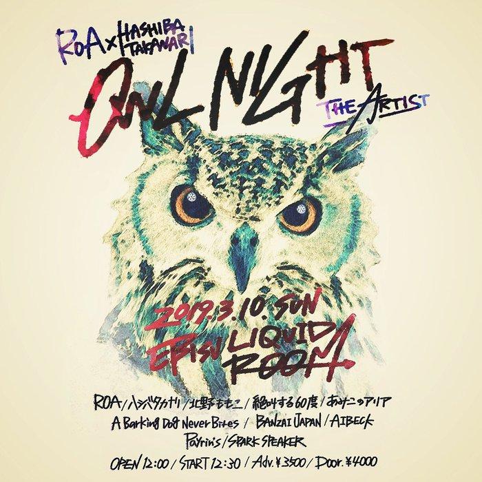 """ROA × HASHIBA TAKANARI pre. OWL NIGHT -THE ARTIST-""、3/10恵比寿LIQUIDROOMにて開催決定!ROA、ハシバタカナリ、SPARK SPEAKER、絶叫する60度ら全アーティストがバンド・セットで出演!"