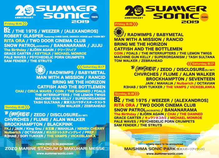"""8/16-18開催""""SUMMER SONIC 2019""""、追加アーティストにTHE DAMNED、Michael Monroeら18組決定!"""