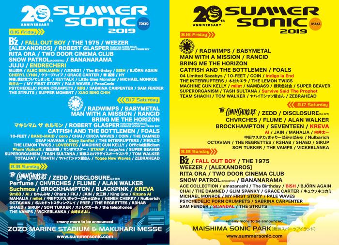 """8/16-18開催""""SUMMER SONIC 2019""""、追加アーティストにFALL OUT BOY、マキシマム ザ ホルモン、Survive Said The Prophet、LOVEBITES、Dizzy Sunfist、BAND-MAIDら決定!"""