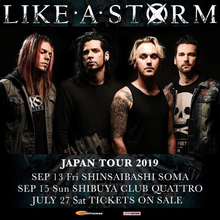 """""""DOWNLOAD JAPAN 2019""""に出演したヘヴィ・ロック・バンド LIKE A STORM、9月に東阪で単独来日ツアー開催決定!"""