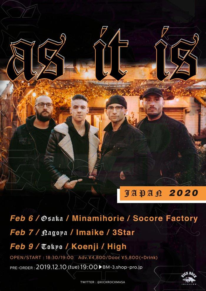 UK出身のポップ・パンク・バンド AS IT IS、2月に東名阪で単独来日公演決定!