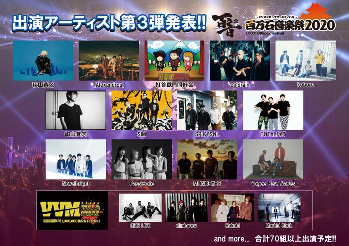 """""""百万石音楽祭2020""""、出演アーティスト第3弾でSiM、coldrain、MONOEYES、打首獄門同好会、PassCodeら17組発表!"""