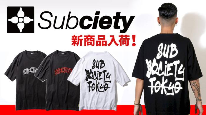 Subciety (サブサエティ)からスプレーでペインティングを施したかのような大判プリントやブラックボディにカレッジロゴの刺繍が存在感抜群なTシャツが入荷!