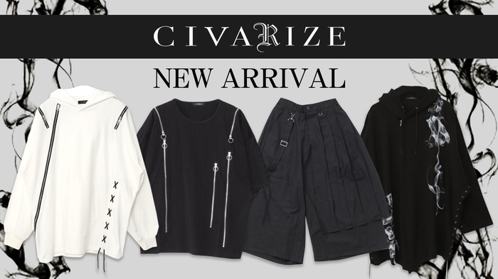 CIVARIZE (シヴァーライズ) より、レースアップ、ファスナーを多様したTシャツやアシンメトリーなワイドパンツ等、デザイン性豊かなアイテムが一斉入荷!