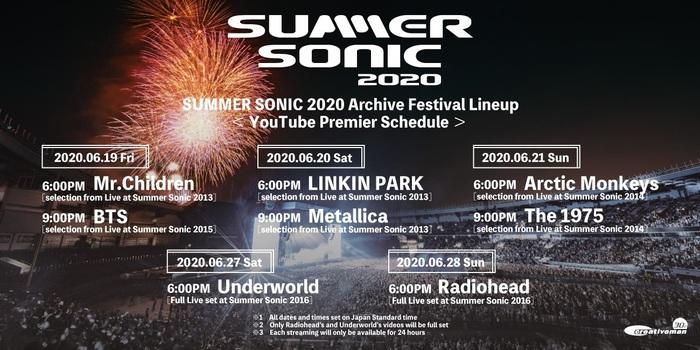 """SUMMER SONIC 2020""、オンライン・フェスとして開催決定!METALLICA、LINKIN PARKらのライヴ映像アーカイヴ配信!"