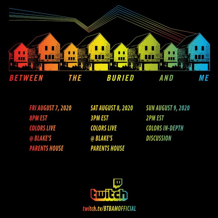 BETWEEN THE BURIED AND ME、4thアルバム『Colors』再現ライヴを今週末にTwitchにて配信!