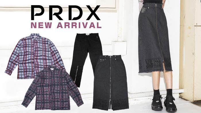 PARADOX (パラドックス)より、ダメージ加工や刺繍が施されたロングスカートや、歪んだラインが特徴的なチェックプリントの上品なシャツが新入荷!