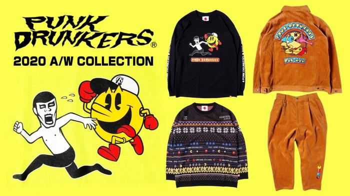 PUNK DRUNKERS (パンクドランカーズ)より、ナムコの代表作「PAC-MAN」とのコラボアイテムが一斉入荷!パックマンから逃げるあいつがプリントされたロンTや、セットアップでも着こなせるコーデュロイ生地のジャケットなどが登場!