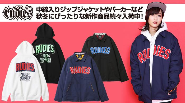 """RUDIE'S (ルーディーズ)より、フロントにワッペンをあしらった中綿入りのジップジャケットや、RUDIE'Sの恒久テーマの一つである""""GOOD VIBRATION""""をプリントしたプルオーバーパーカーなどが新入荷!"""