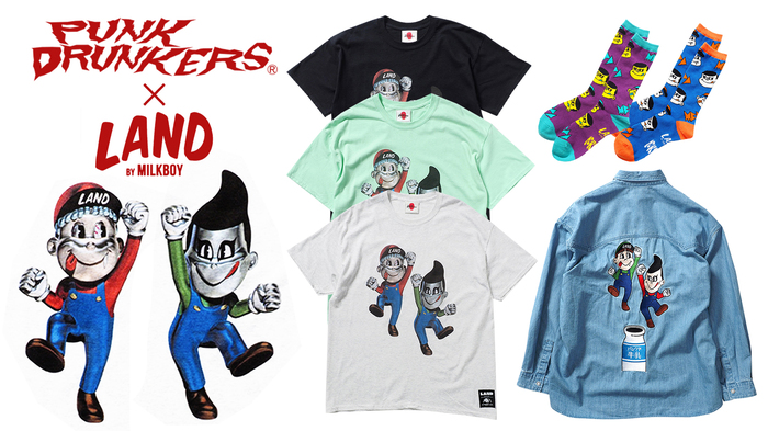 PUNK DRUNKERS (パンクドランカーズ)より、LAND by MILKBOYとのコラボアイテムが一斉入荷!前後にインクジェットプリントが施されたパンクさん初のレアなTシャツや、洗いをかけた身幅広めのデニムシャツなどが入荷!