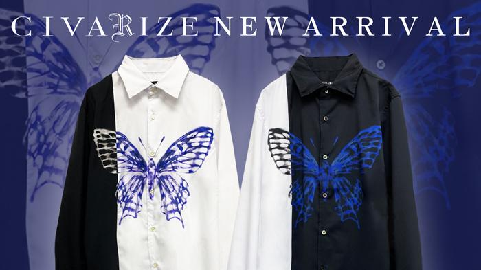 CIVARIZE (シヴァライズ)より、フロントに切り替えにまたがるように鮮やかなバタフライプリントが大きく施されたバイカラーシャツがゲキクロに新入荷!