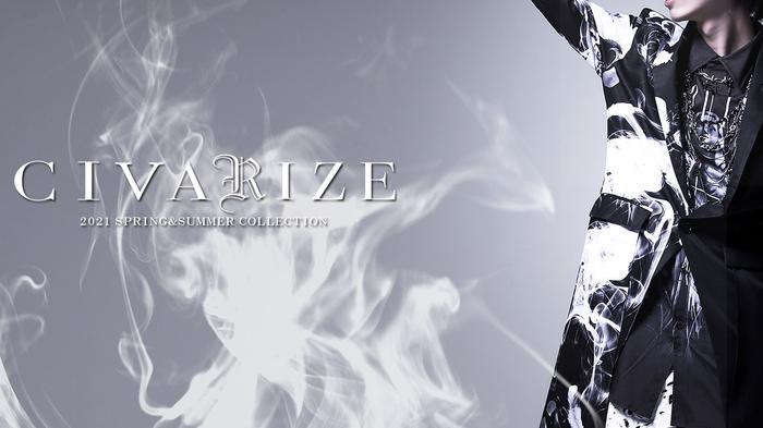 CIVARIZE (シヴァーライズ) 2021Spring Collection続々入荷!、モノトーン総柄のビッグ・ロンTやバイカラー切り替えロンTとタンクトップのレイヤード・セットが登場!