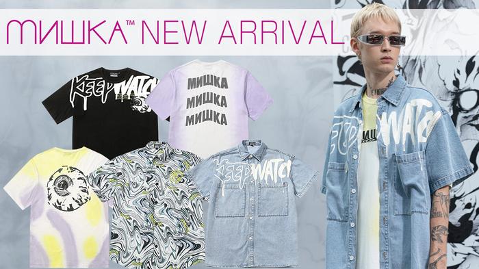 """MISHKA (ミシカ)より、""""MOP""""やストリート感溢れるグラフィティを落とし込んだ半袖デニムシャツや、サイドがグラデーションに染め上げられたTシャツなどが新入荷!お得なノベルティキャンペーンも実施中!"""