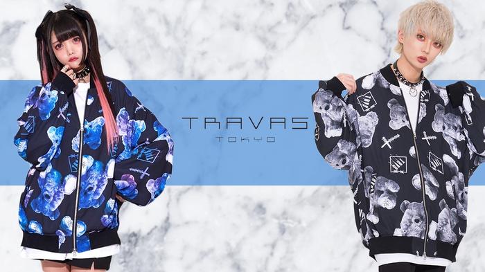 TRAVAS TOKYO (トラバス トーキョー)より、ロゴデザインとくま総柄が目をひくシフォンブルゾンが新入荷!BIGシルエットでトレンド感満載!