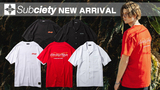 Subciety (サブサエティ)より、独特のドレープ感のあるピーチファイユ生地を採用した開襟シャツや、ネオンサインをイメージした蓄光プリントを施したTシャツが新入荷!