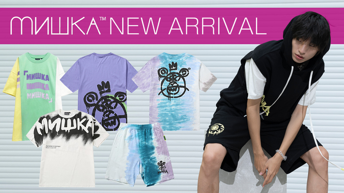 """MISHKA (ミシカ)より、バックにペイント風で大きくプリントされた""""MOP""""が印象的なTシャツや、色鮮やかなタイダイ柄が目を引くショーツなど新作一斉入荷!"""