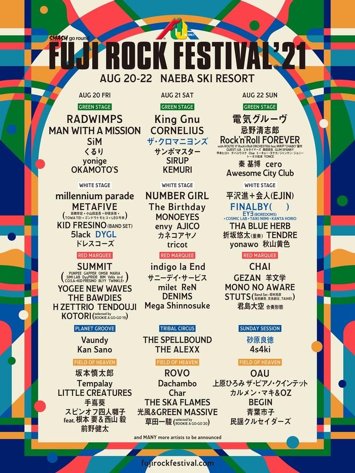 """""""FUJI ROCK FESTIVAL'21""""、ラインナップ第3弾&ステージ別ラインナップ発表!"""