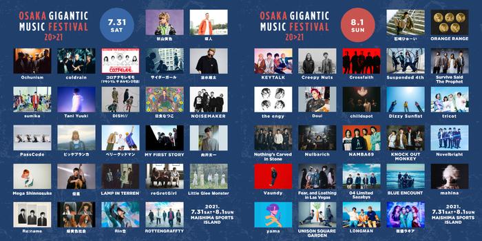"""OSAKA GIGANTIC MUSIC FESTIVAL 20>21""、最終アーティストでKEYTALK、Suspended 4thら6組発表!"