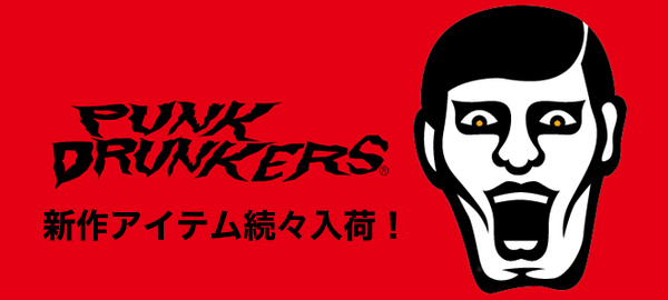 PUNK DRUNKERS(パンクドランカーズ)から半袖シャツやフットボールTEE、SABBAT13からはキャップやベルトが登場!